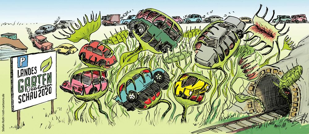 Karikatur zum Parkhaus der geplanten Landesgartenschau in Überlingen am Bodensee