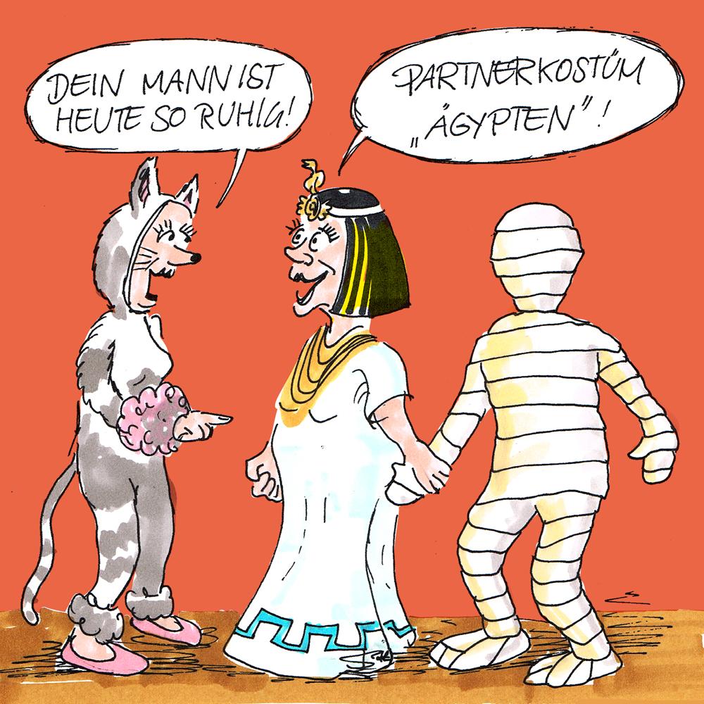 Cartoon-Karikatur: Dialog auf einer Kostümparty