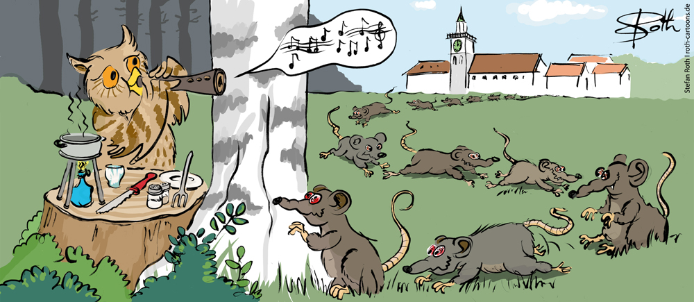 Uhu lockt Ratten wie der Rattenfänger von Hameln