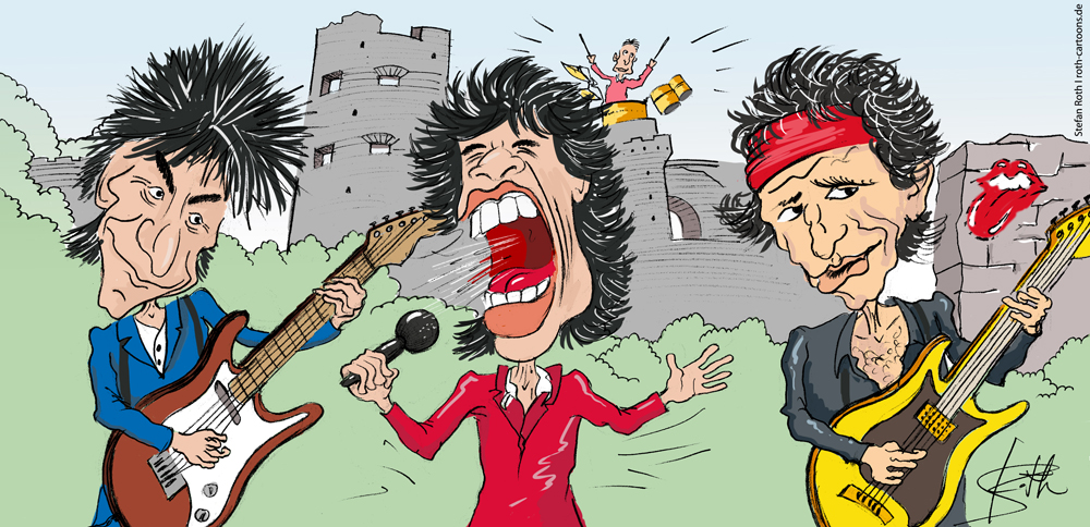 Karikatur der Rolling Stones