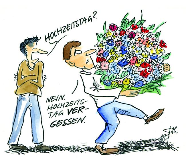 Cartoon/Karikatur: Blumen zum Hochzeitstag, Hochzeitstag vergessen