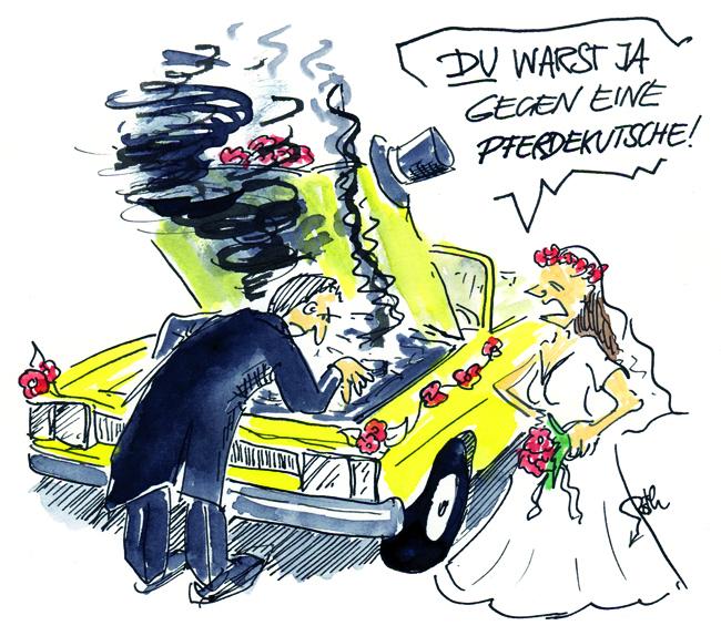 Hochzeitskutsche gegen Hochzeitsauto