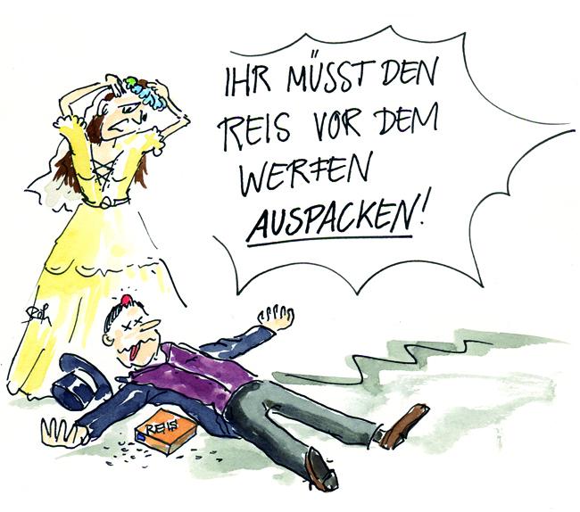 Cartoon/Karikatur: Reiswerfen an der Hochzeit