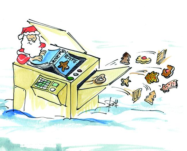 Weihnachtsmann am Kopierer produziert Plätzchen