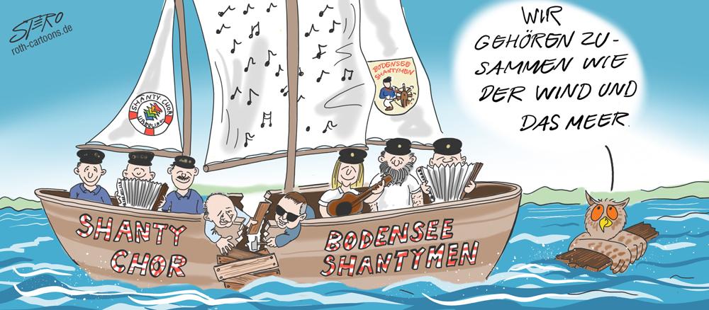 Cartoon zu Chantychor Überlingen und Shantymen Bodensee