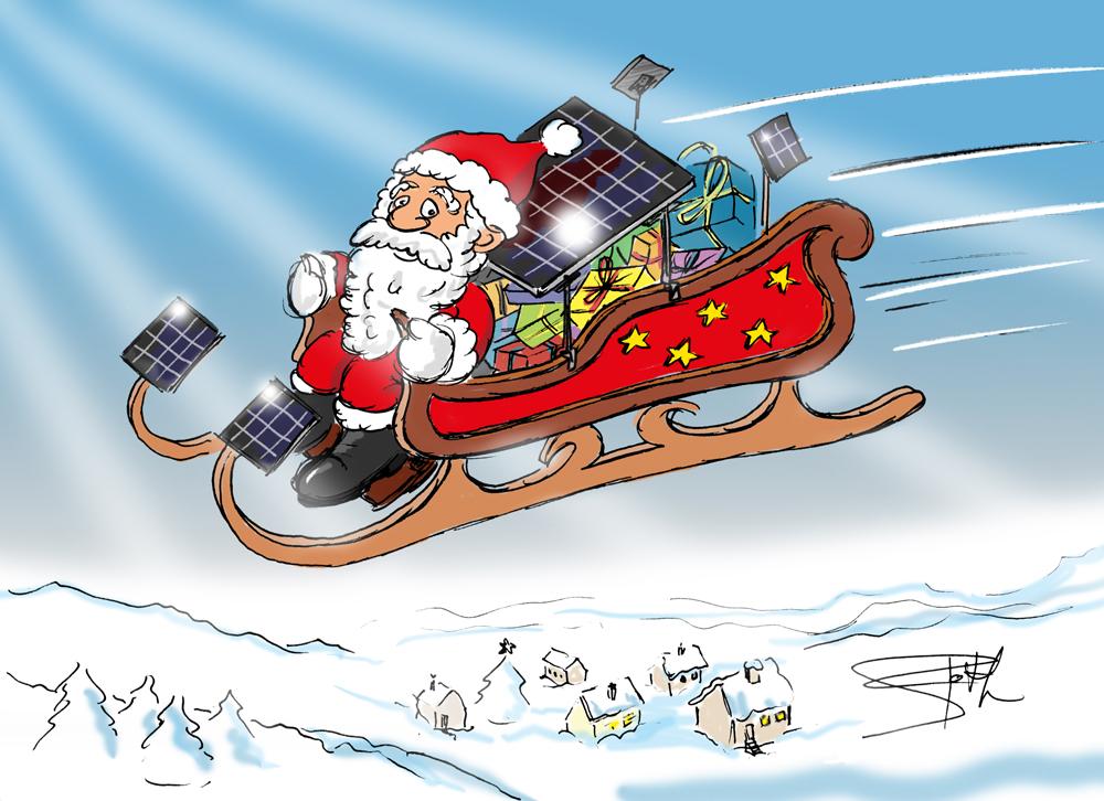 Weihnachtsmann mit Solarenergie