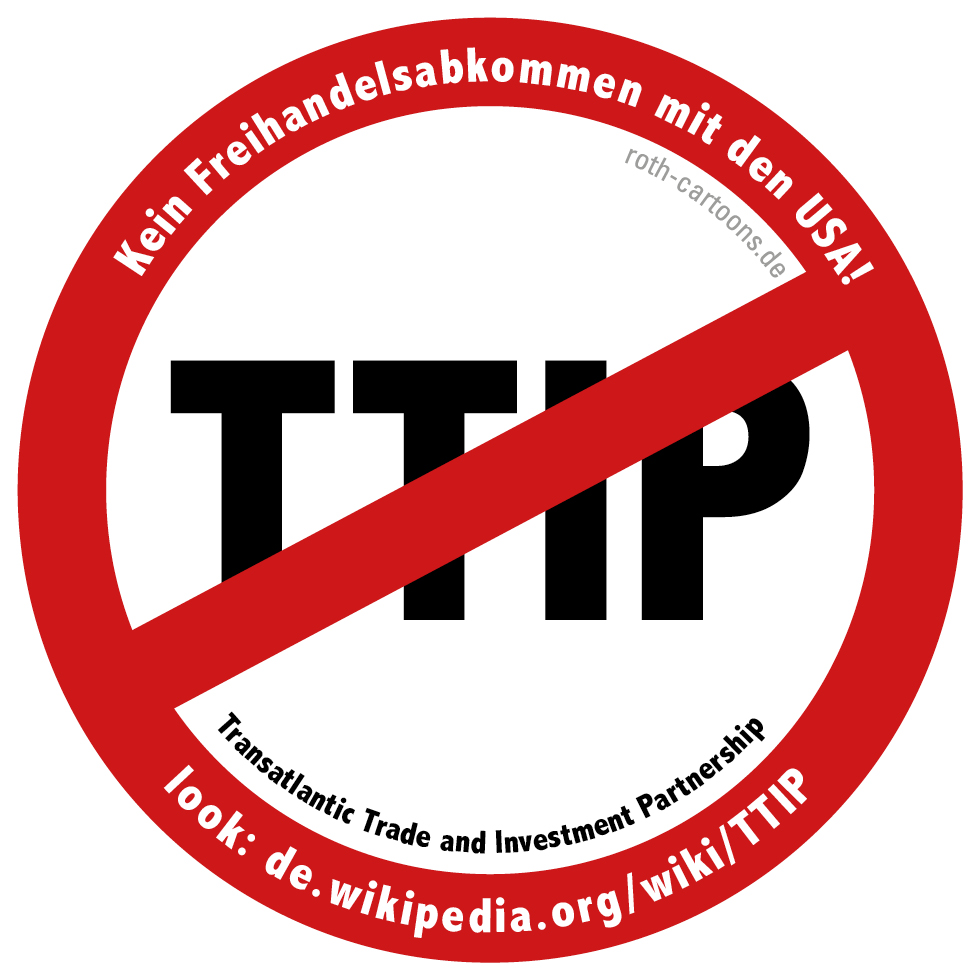 Stop Ttip Button Aufkleber Cartoons Comic Karikaturen
