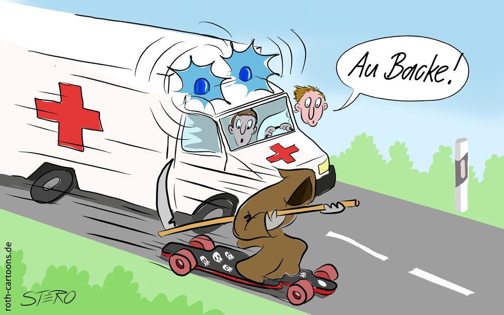 Cartoon Tod überholt Rettungswagen auf der Einsatzfahrt