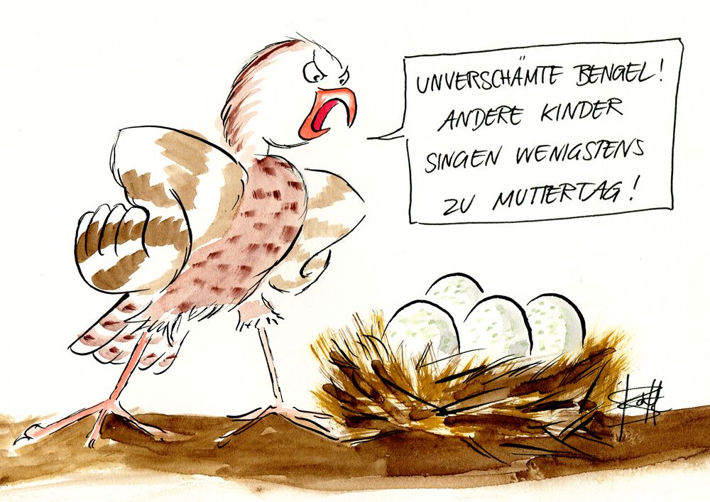 Comic-Cartoon - Vogel vor Vogelnest