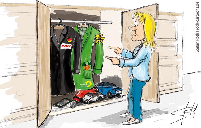Sabine Becker vor dem Kleiderschrank