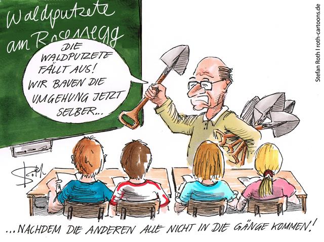 Lehrer vor Schulklasse, Thema Waldputzete, Ortsumfahrung
