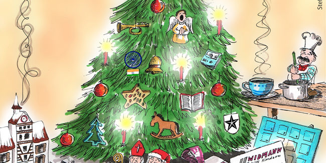 Weihnachtsbaum Comic.Illustration Weihnachtsbaum Cartoons Comic Karikaturen