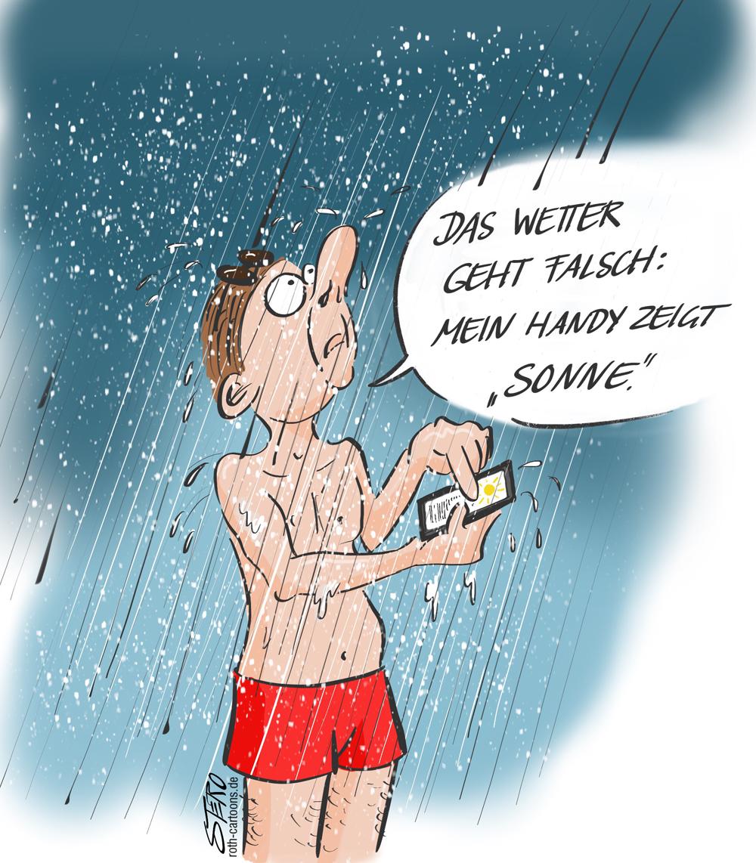 Cartoon: Ein Mann steht in Badekleidung im Regen.