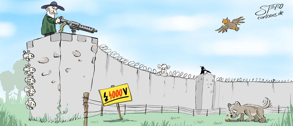 Cartoon-Karikatur zur Ansiedliung des Wolfes