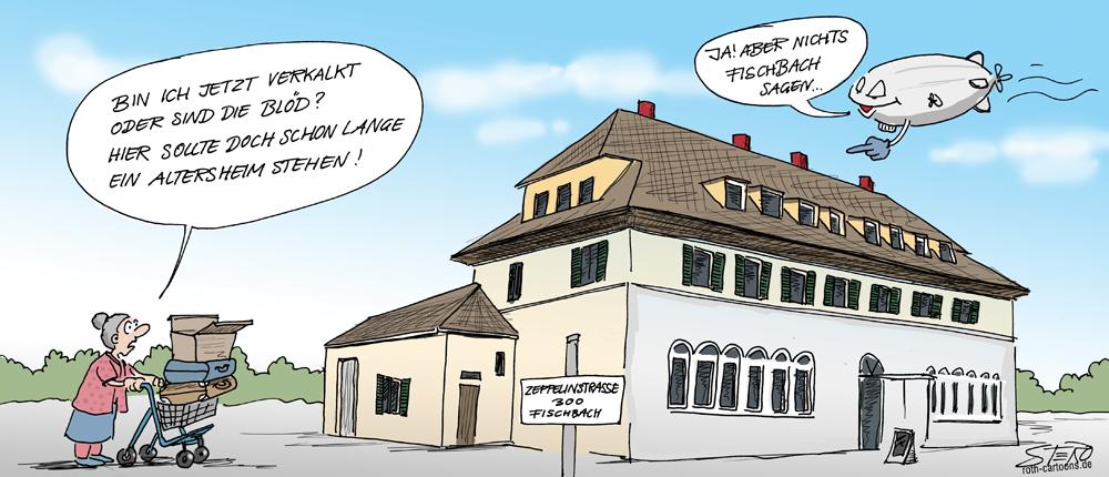 Cartoon zu geplantem Altersheim in Fischbach/Friedrichshafen