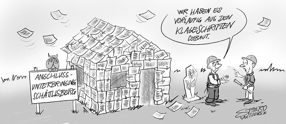 Cartoon-Karikatur:Ein Papierhaus aus den Klageschriften gegen eine Anschlussunterbringung für flüchtlinge gebaut - Refugees welcome.