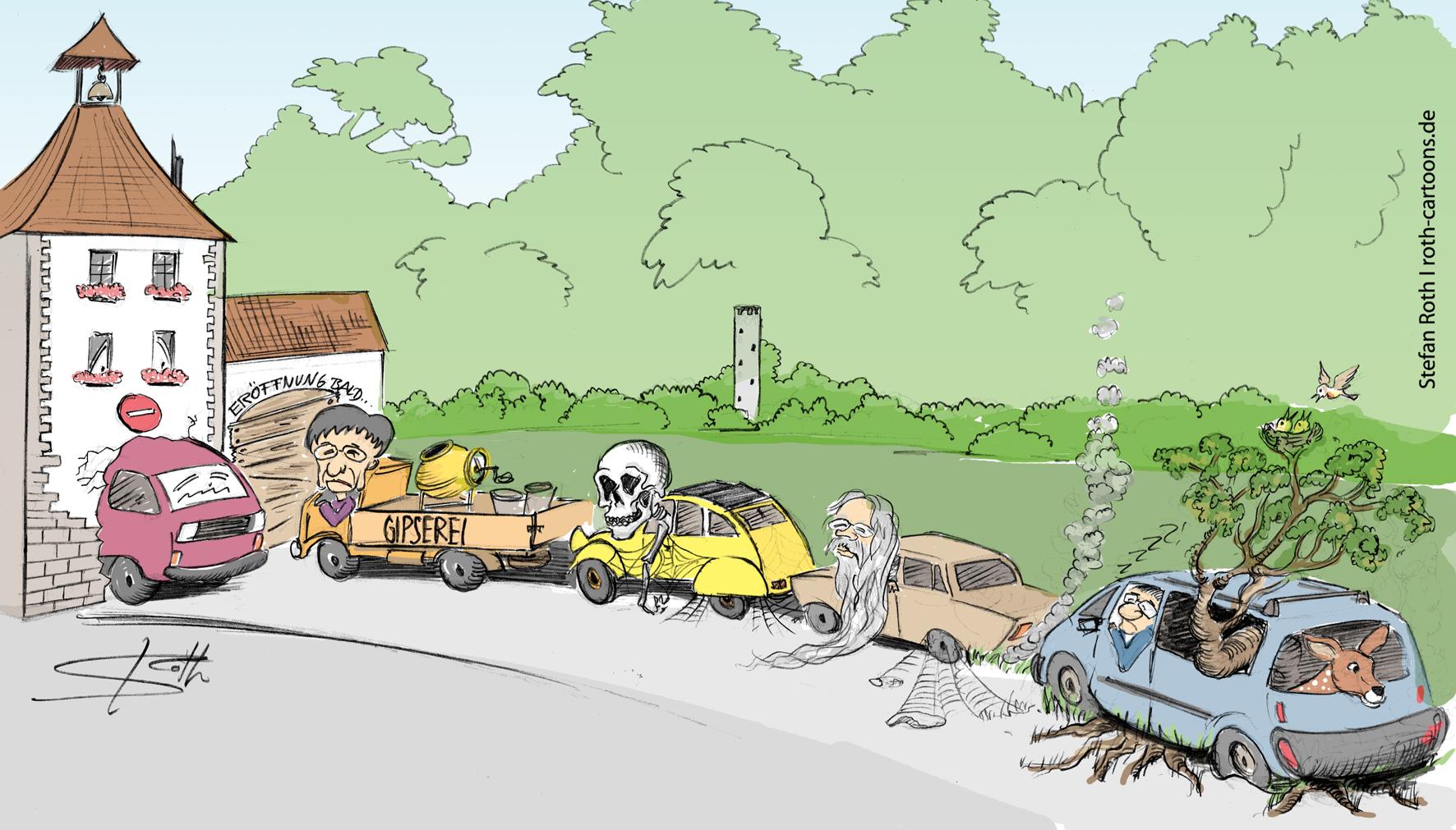 Aufkircher Tor Überlingen Cartoon