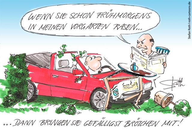 Auto rast in Vorgarten