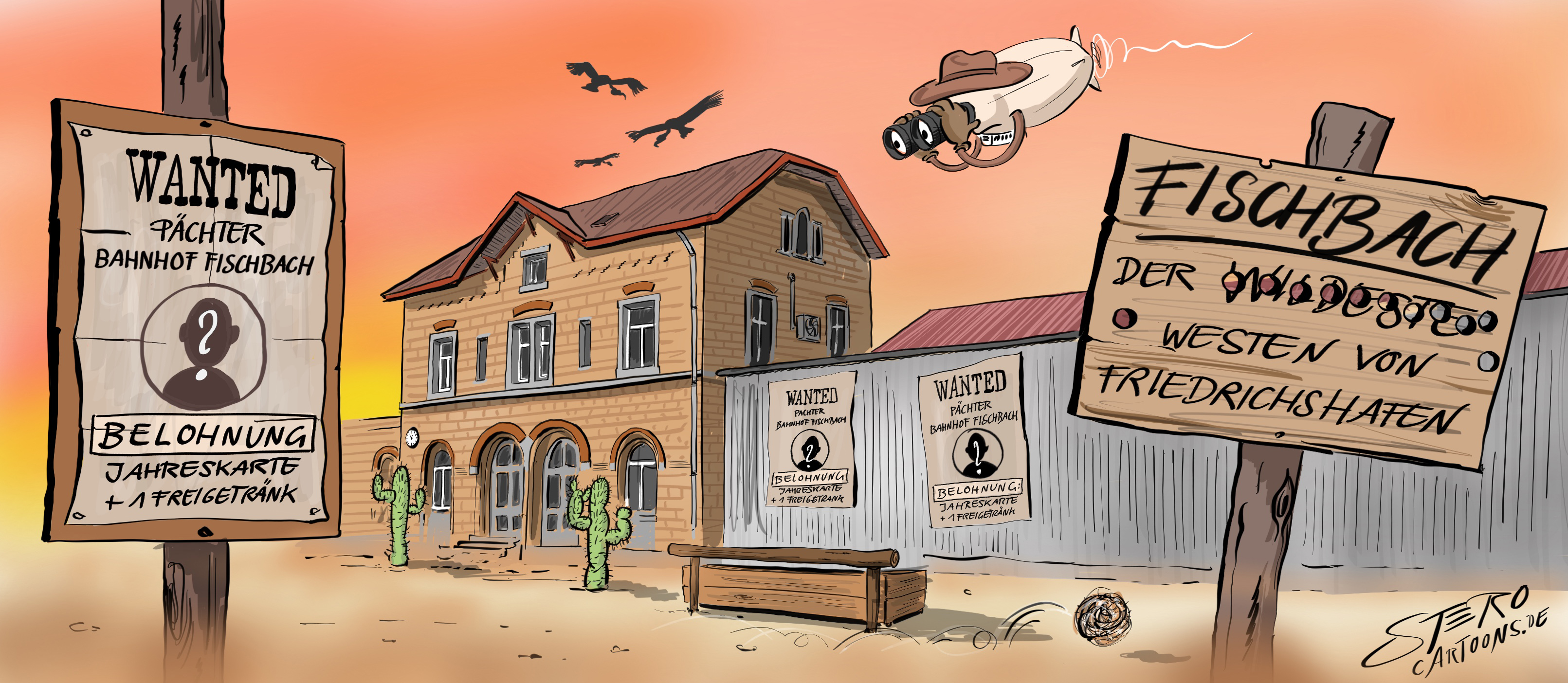 Cartoon-Illustration im WildWestStil