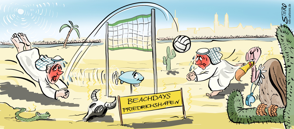 Cartoon-Karikatur-beachdays beduinen beim beachvolleyball