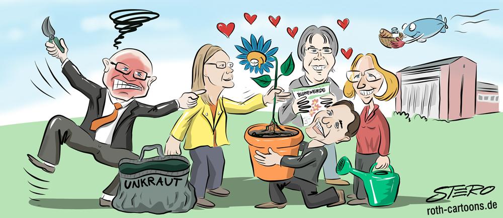 Cartoon/Karikatur: Umtopfen der studentischen Vereinigung Blaue Blume in Friedrichshafen ist angesagt.