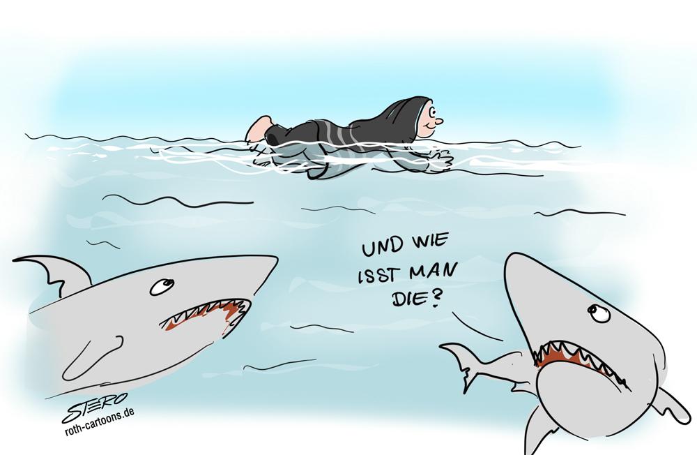 Cartoon-Karikatur-Comic Burkini