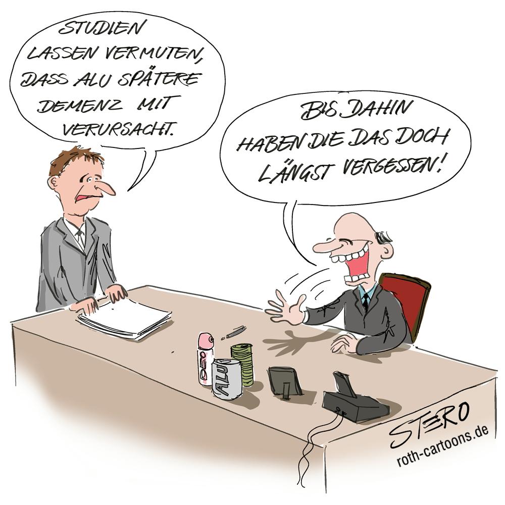 Cartoon: Chef der Alubranche lacht über Vergesslichkeit von Demenzkranken