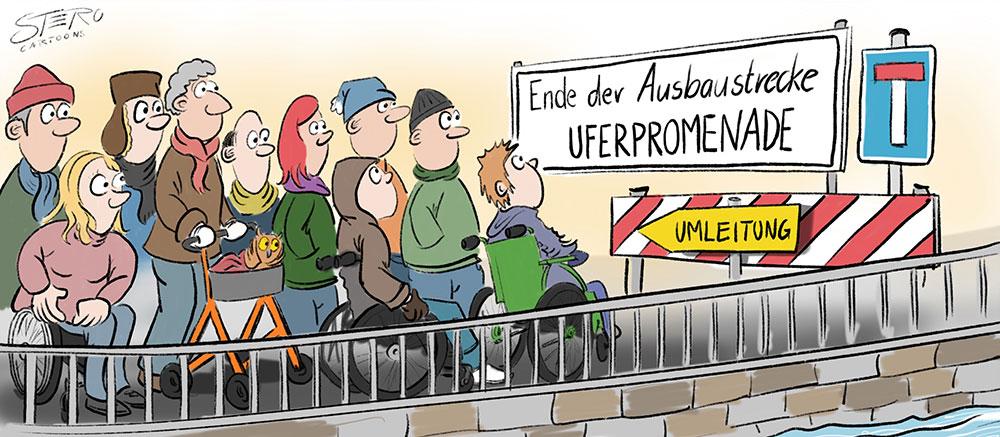 Cartoon: Rollstuhlfahrer und Rollator stehen vor Baustelle - nicht barrierefrei