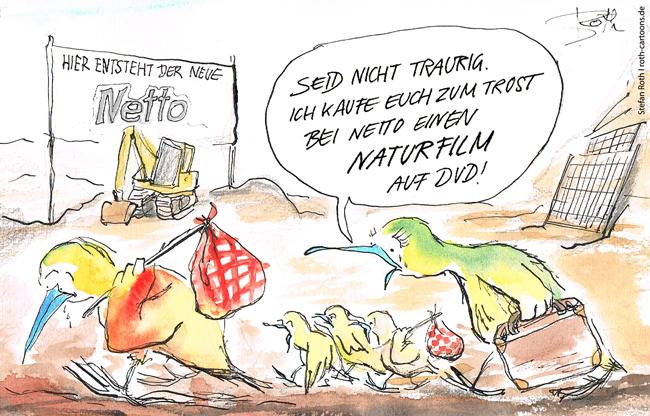 Cartoon: Vögel , deren Wohnraum dem Neubau eines Discounters zum Opfer fällt.