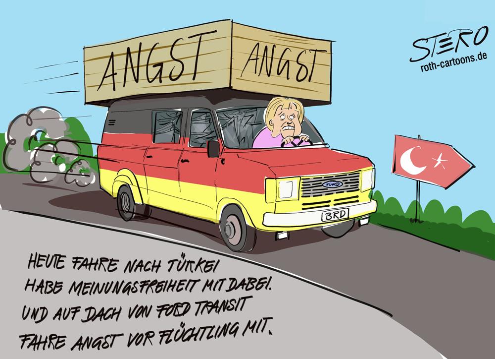Cartoon Angela Merkel auf dem Weg in die Türkei