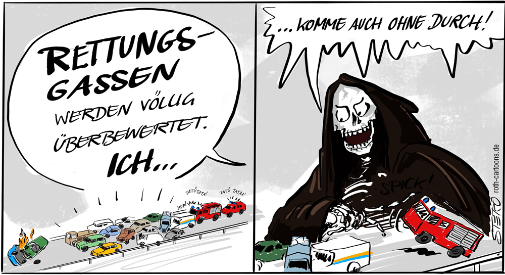 CArtoon-Comic mit Gevatter Tod. Autos stehen kreuz und quer bei einem Unfall. Keine Rettungsgasse. Feuerwehr kommt nicht durch!
