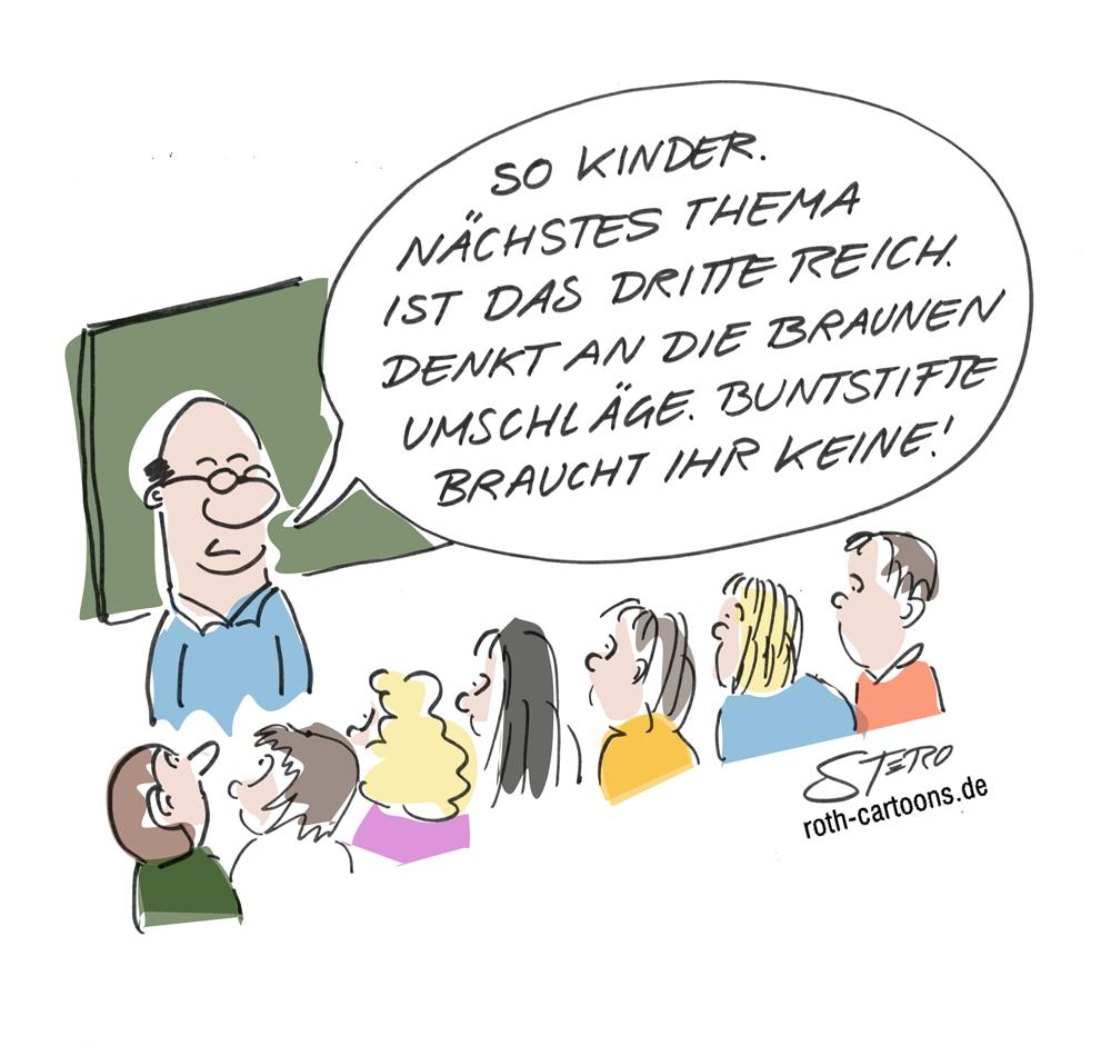 Cartoon-Karikatur-Comic-Geschichte-drittes-Reich-Nationalsozialismus