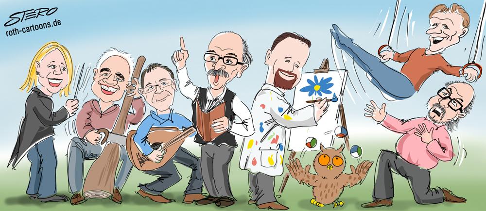 Cartoon: Gemeinderat Überlingen als Musiker, Künstler, Schauspieler, Sportler