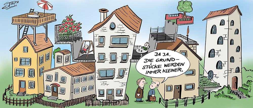 Cartoon zu Bauplatz, und Grundstückmangel und Wohnungsnot