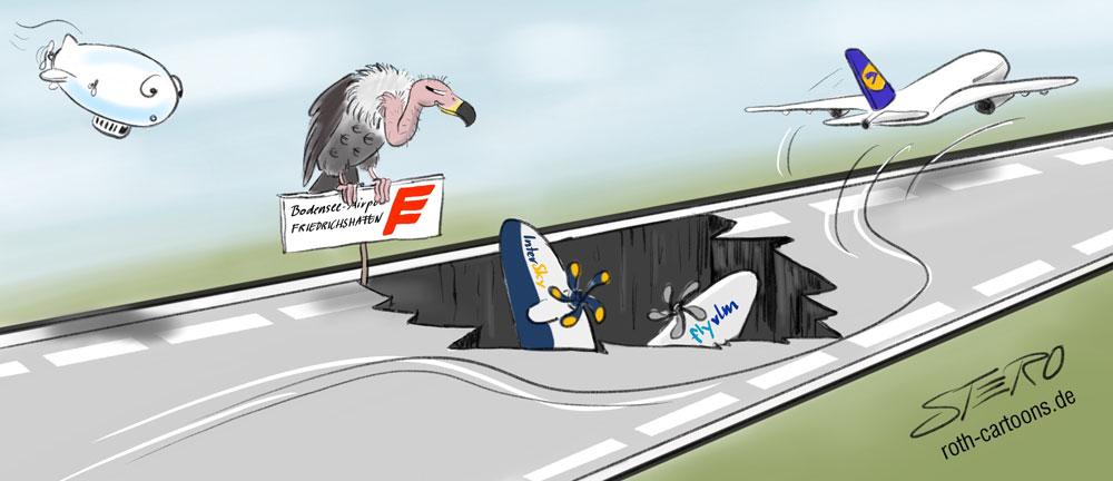 Cartoon-Karikatur-Comic Flughafen Landebahn mit Pleitegeier