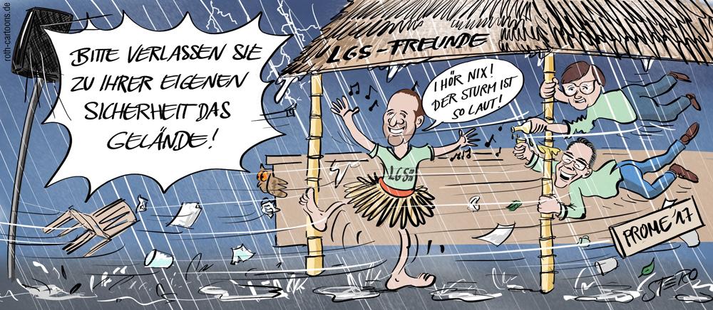 Cartoon-Karikatur-Comic Mann im Sturm bei Festival
