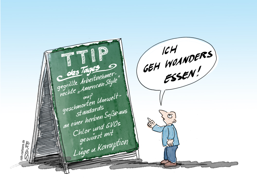 Cartoon zu TTIP TIsa CETA