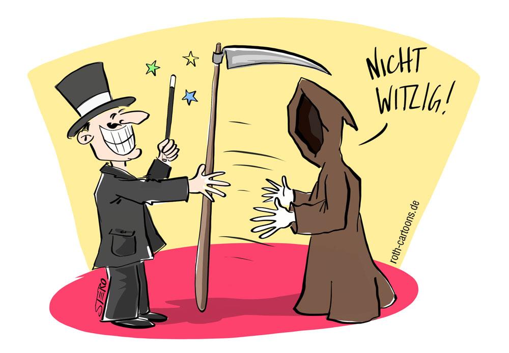 Cartoon: Zauberer zaubert Tod die Sense weg