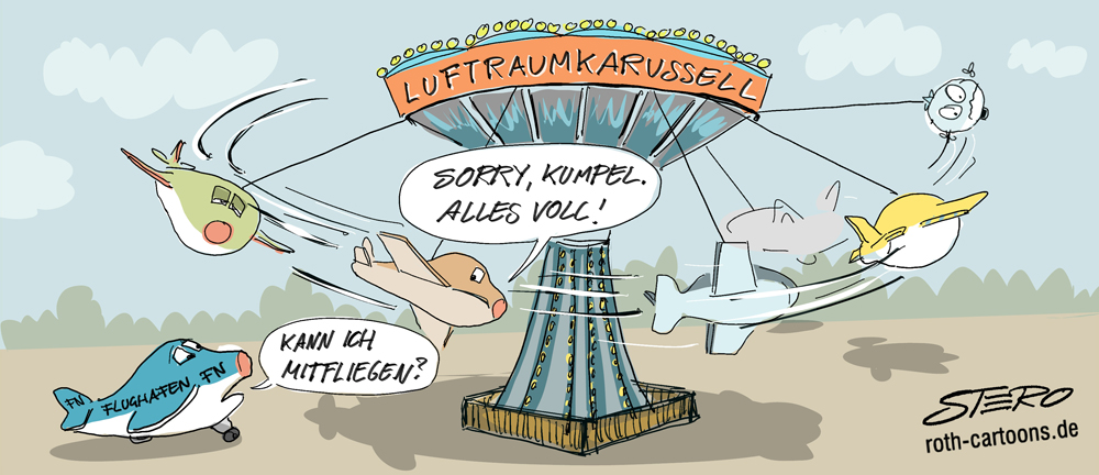 Cartoon Flugzeuge am Kettenkarusell