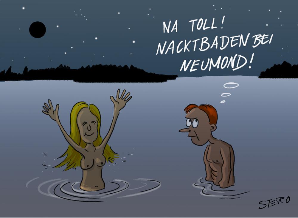 Cartoon: Nacktbaden im See bei Neumond