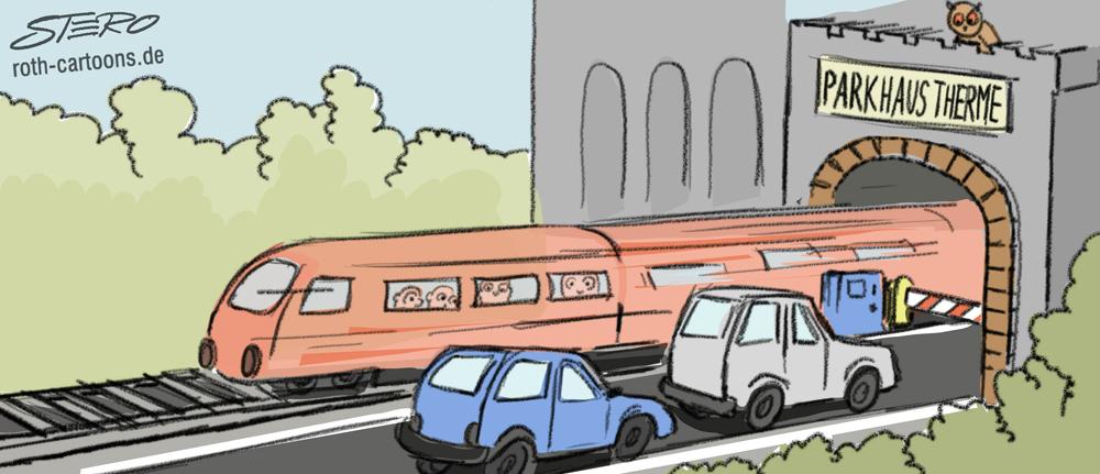 Cartoon: Parkhaus im Zugtunnel