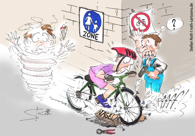 Radfahrer fährt verbotenerweise in der Fußgängerzone