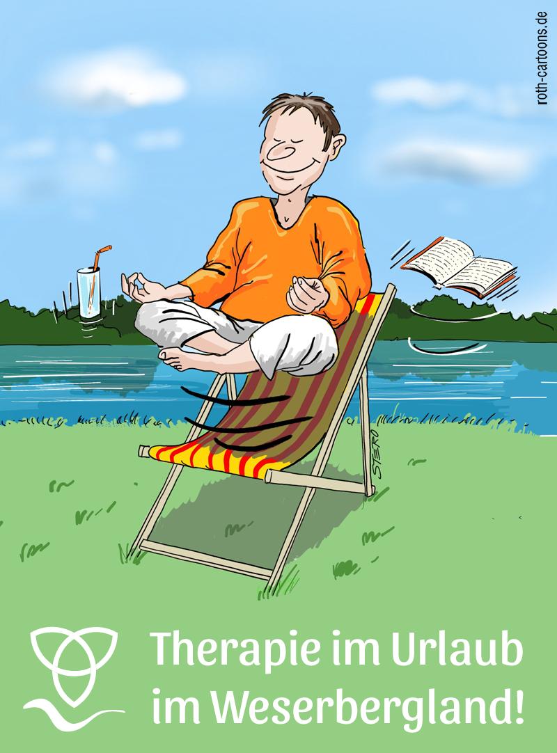 Cartoon-Karikatur-Comic Mann im Yogasitz schwebt über Liegestuhl