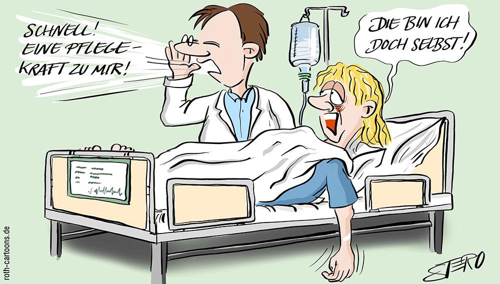 Cartoon zum Pflegekraftmangel im Krankenhaus
