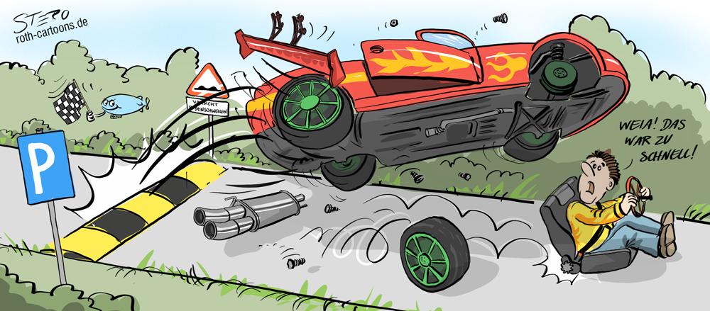 cartoon: auto schanzt über bodenwellen