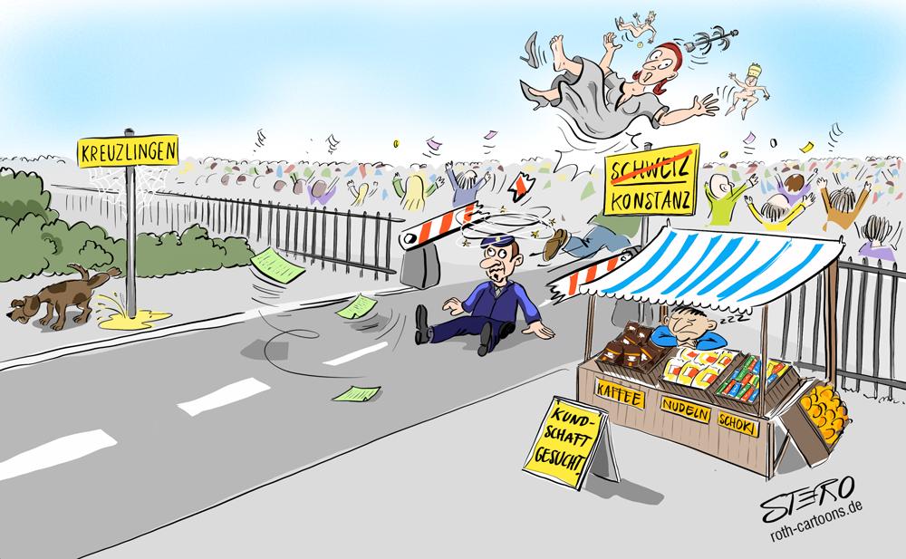 cartoon: überrannte Grenzen