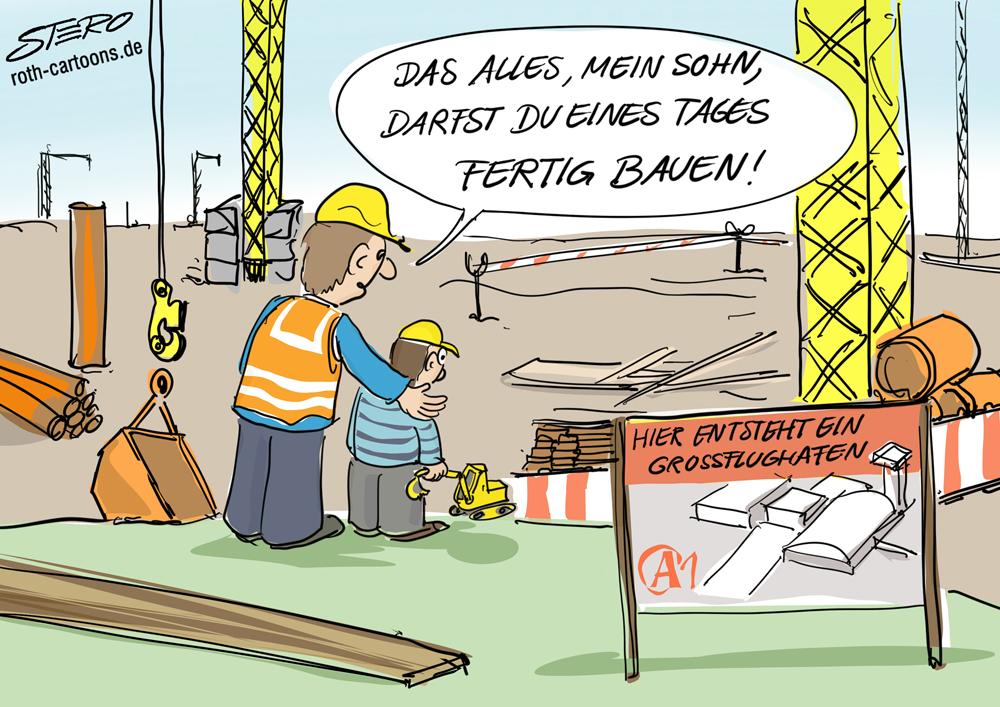 Cartoon Vater und Sohn auf Baustelle