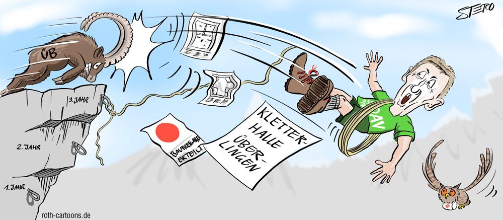 Cartoon-Karikatur-Comic Steinbock stößt Mann von Berg