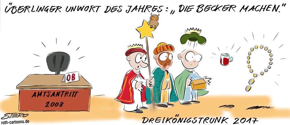 Cartoon zur Zuverlässigkeit von OB Sabine Becker aus Überlingen