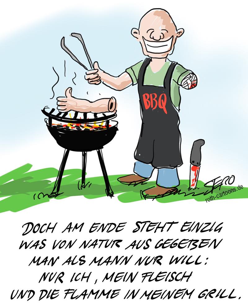 Cartoon zu werbespot Herren des feuers von edeka